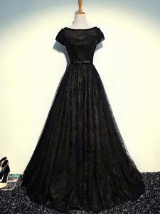 Latest Black Empire Tulle Scoop Short Sleeves Beading and Lace and Belt Floor Length Zipper Graduation Dresses