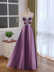 Vintage Multi-color Lace Up Sweetheart Beading and Ruching Graduation Dresses Chiffon and Printed Sleeveless