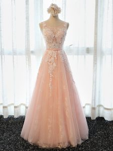 Hot Selling Peach Graduation Dresses Prom and Party and Military Ball with Appliques Scoop Sleeveless Lace Up