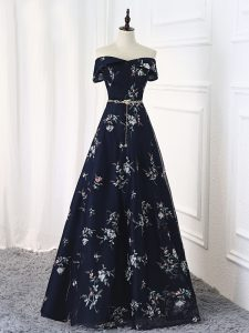 Dazzling Multi-color Lace Up Off The Shoulder Beading and Belt Graduation Dresses Printed Sleeveless