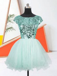 Apple Green Short Sleeves Mini Length Sequins Lace Up Graduation Dresses