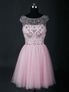 Amazing Baby Pink Short Sleeves Beading Mini Length Graduation Dresses