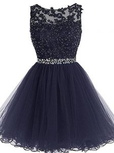 Elegant Navy Blue Scoop Zipper Beading and Lace and Appliques and Ruffles Graduation Dresses Sleeveless