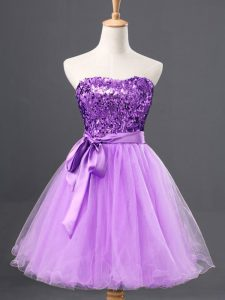 Simple Mini Length Lavender Graduation Dresses Sweetheart Sleeveless Zipper