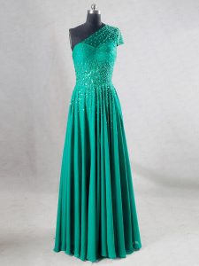 Sleeveless Beading and Pleated Backless Graduation Dresses