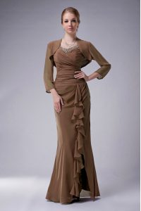 Simple Brown Sleeveless Beading Floor Length Graduation Dresses