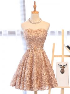 Modern Champagne A-line Organza Sweetheart Sleeveless Belt Mini Length Lace Up Graduation Dresses