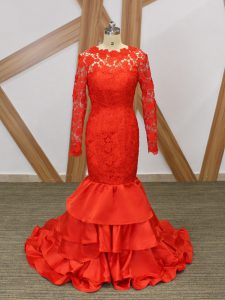 Dynamic Long Sleeves Floor Length Lace and Appliques Backless Graduation Dresses with Red