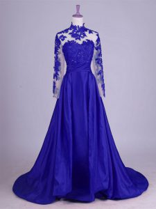 Unique Brush Train A-line Graduation Dresses Royal Blue High-neck Taffeta Sleeveless Lace Up