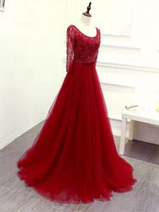 Adorable Scoop Long Sleeves Graduation Dresses Brush Train Beading and Lace and Belt Wine Red Tulle
