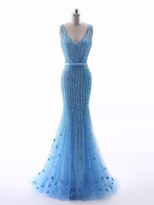 Elegant Sleeveless Floor Length Beading and Belt and Hand Made Flower Zipper Graduation Dresses with Baby Blue