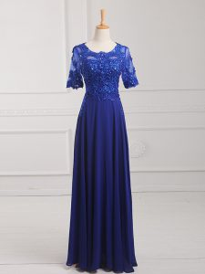 Custom Designed Scoop Half Sleeves Graduation Dresses Floor Length Lace and Appliques Royal Blue Chiffon