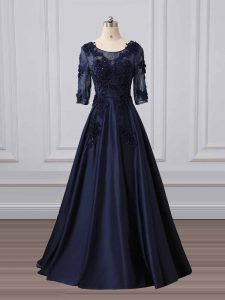 Simple Navy Blue A-line Lace and Appliques Graduation Dresses Zipper Satin 3 4 Length Sleeve