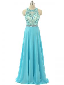 Admirable Aqua Blue Scoop Zipper Beading Graduation Dresses Sleeveless