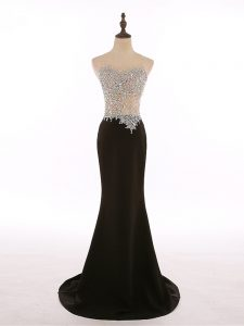 Spectacular Sleeveless Chiffon Brush Train Zipper Graduation Dresses in Black with Beading