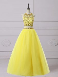 Superior Yellow Backless Halter Top Beading Graduation Dresses Organza Sleeveless