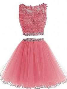 Deluxe Mini Length Pink Graduation Dresses Tulle Sleeveless Beading and Lace and Appliques