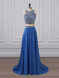 Low Price Sleeveless Zipper Floor Length Beading and Sequins Graduation Dresses