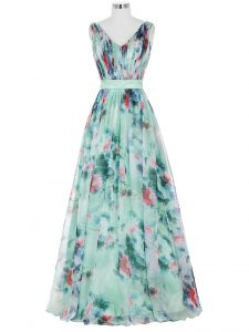 Beautiful Multi-color Empire Printed V-neck Sleeveless Ruching and Belt Floor Length Zipper Graduation Dresses