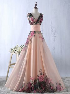 Floor Length Lace Up Graduation Dresses Peach for Prom and Party and Wedding Party with Ruching