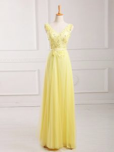 Super Yellow Sleeveless Floor Length Lace and Appliques and Belt Zipper Graduation Dresses