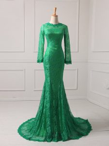 Dazzling Long Sleeves Lace Zipper Graduation Dresses with Green Brush Train