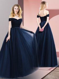 Sleeveless Floor Length Beading and Ruching and Belt Lace Up Graduation Dresses with Navy Blue