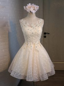 Lace and Appliques and Belt Graduation Dresses Champagne Lace Up Sleeveless Mini Length