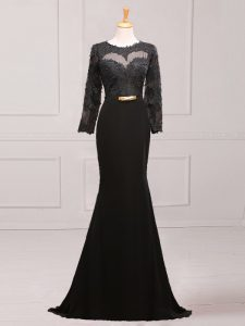 Fantastic Black Mermaid Lace and Appliques and Belt Graduation Dresses Side Zipper Chiffon Long Sleeves