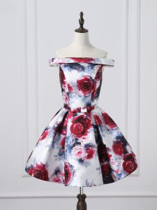 Multi-color Printed Lace Up Off The Shoulder Sleeveless Mini Length Graduation Dresses Ruching