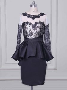 Black Scoop Neckline Lace and Appliques Graduation Dresses Long Sleeves Zipper