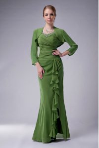 Super Green Straps Neckline Beading Graduation Dresses Sleeveless Zipper