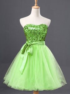 Perfect Tulle Sweetheart Sleeveless Zipper Sashes ribbons and Sequins Graduation Dresses in Yellow Green