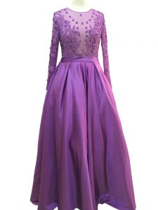High Class Long Sleeves Zipper Floor Length Beading and Lace and Appliques Graduation Dresses