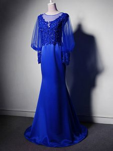 Royal Blue Clasp Handle Graduation Dresses Beading and Lace and Appliques Long Sleeves Brush Train