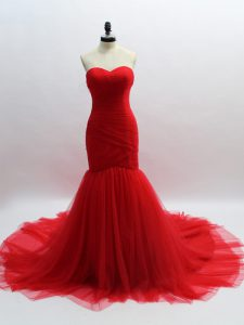 Sweetheart Sleeveless Brush Train Lace Up Graduation Dresses Red Tulle
