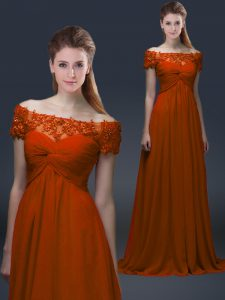 Gorgeous Rust Red Empire Off The Shoulder Short Sleeves Chiffon Floor Length Lace Up Appliques Graduation Dresses
