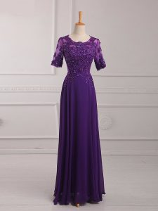 Floor Length Zipper Graduation Dresses Purple for Prom and Military Ball with Lace and Appliques