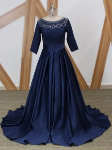 Lovely Scoop 3 4 Length Sleeve Brush Train Zipper Graduation Dresses Navy Blue Satin