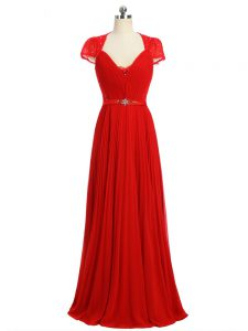 Glittering Red Short Sleeves Chiffon Zipper Graduation Dresses for Prom and Party and Military Ball