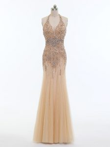 Custom Fit Beading Graduation Dresses Champagne Backless Sleeveless Floor Length