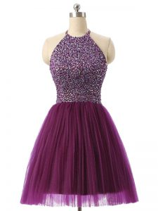 Beading and Sequins Graduation Dresses Dark Purple Backless Sleeveless Mini Length