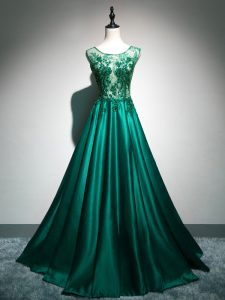 Brush Train A-line Graduation Dresses Dark Green Scoop Elastic Woven Satin Sleeveless Backless