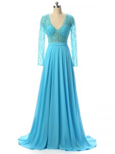 Clearance V-neck Long Sleeves Graduation Dresses Brush Train Beading Baby Blue Chiffon