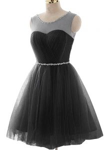 Black Graduation Dresses Prom and Party and Beach with Beading and Ruching Scoop Sleeveless Lace Up