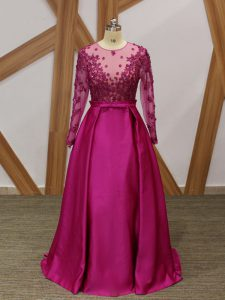 Fuchsia Empire One Shoulder Long Sleeves Elastic Woven Satin Floor Length Zipper Beading and Appliques and Belt Graduation Dresses
