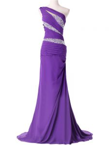 Deluxe Lace Up Graduation Dresses Purple and In with Beading and Ruching Brush Train