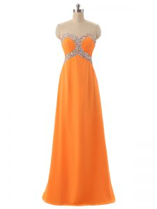 Orange Graduation Dresses Prom and Military Ball and Beach with Beading and Ruching Sweetheart Sleeveless Lace Up