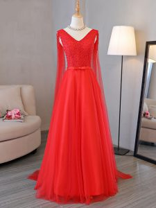 V-neck Sleeveless Lace Up Graduation Dresses Red Tulle