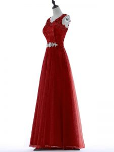 Beading and Lace Graduation Dresses Red Zipper Short Sleeves Floor Length